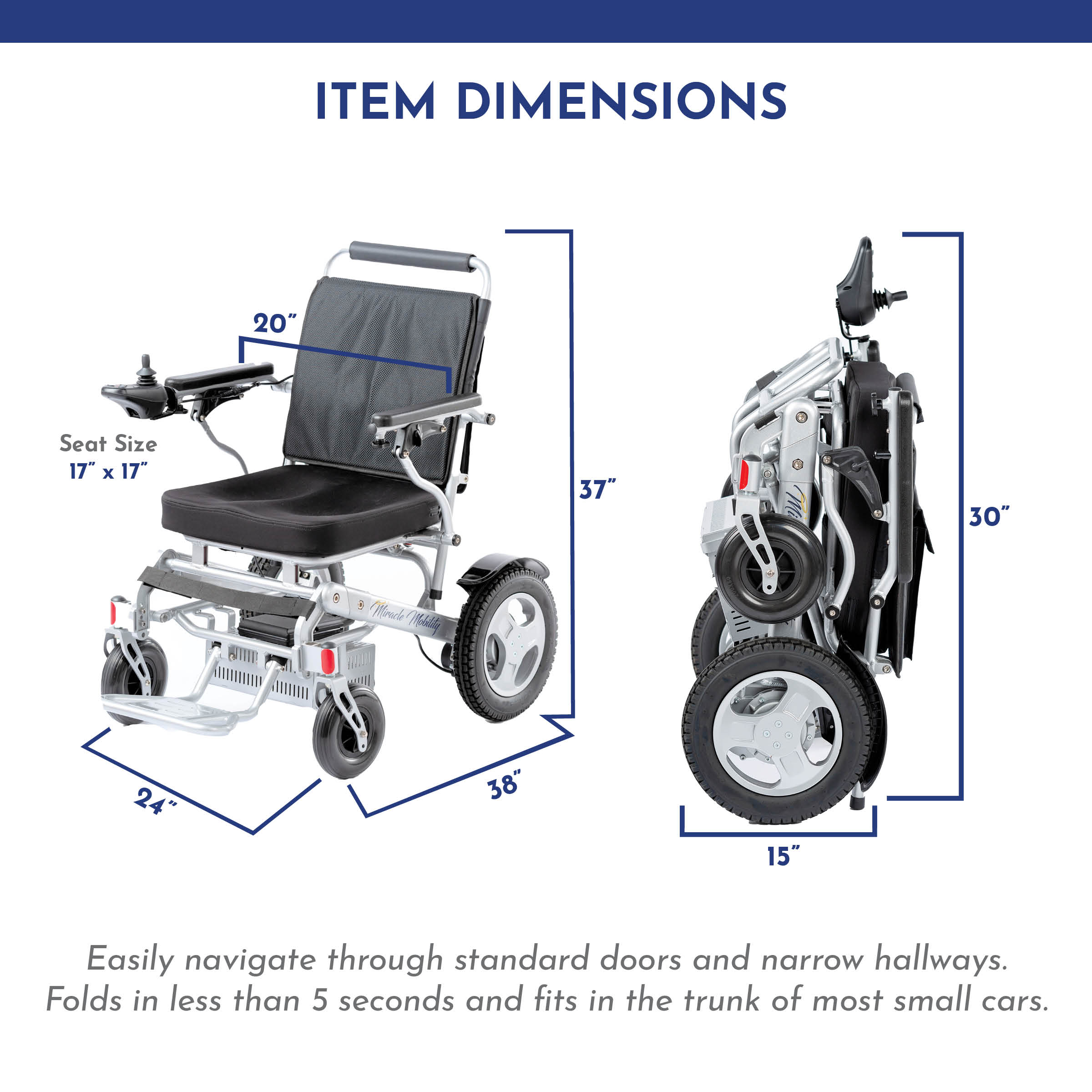 Freedom Series: 'Gold XL D10' Foldable Wheelchair